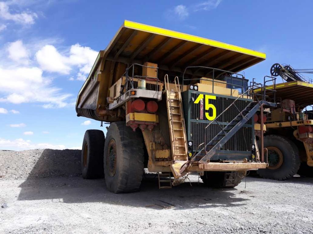 The Komatsu 830E is an ultra class haul truck used in open pit mining designed and built in Peoria, Illinois by Komatsu America Corporation